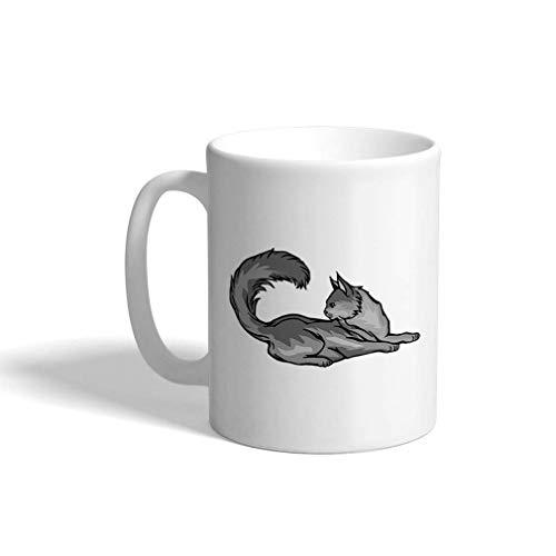 N\A aza de café Divertida Personalizada Taza de café Maine Coon Cat B Diseño de Taza de té de cerámica Blanca Solamente