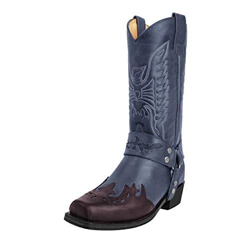 Donna Scarpe Stivali da Neve Inverno Stivaletti Boots Stivali Cerniera Moda in Pelle Antiscivolo Slip-on Punta Tonda Fibbia Scarpe a Tacco Basso (38,Blu)