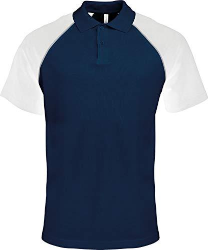 Kariban Herren Polo Baseball Zweifarbiges Raglan Polohemd Mehrfarbig Navy/Light Grey/White XXL