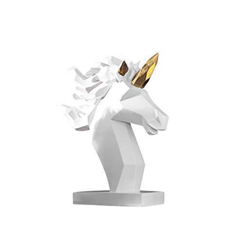 Desktop-Skulptur Nordic Geometric Unicorn Ornamente Moderne Minimalistische Dekoration Wohnzimmer Büro Modell Raum Fenster Dekoration (Color : White)
