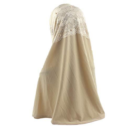 Muslim Hijab Headwear, Tuscom Cotton Hood Hijab Tube Underscarf Cap Traditional Cultural Middle Eastern Headwrap Long Scarf Wrap Stretch Jersey Turban Headband Amira Islamic Head Shawls (Beige)