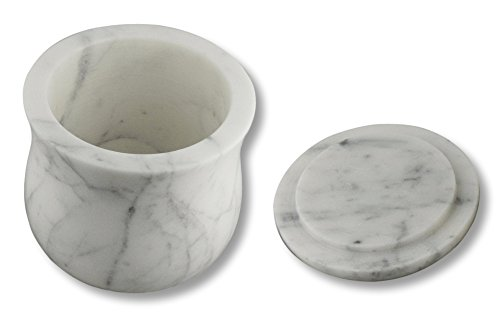 ShalinIndia Handmade Ocean Gray Storage Box - Marble - 3.5 inches by 3.5 inches - Use as a Spice Jar with Lid or Candy Dish - Perfect as a Gift (Lady Purple White)