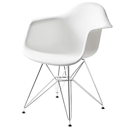 【不朽の名作 イームズチェアDAR】 スチール脚アームシェルチェア(肘掛け一体型)デザイナーズ CharlesRay Eames 曲線美座面 体を包み込むデザイン エッフェルベース オシャレな癒し椅子 (ホワイト色)