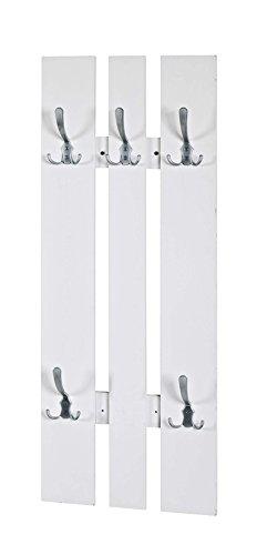 AVANTI TRENDSTORE - Merrit - Appendiabito da Muro in Legno truciolato Bianco con 5 Ganci in Metallo. Lap 45x100x9 cm
