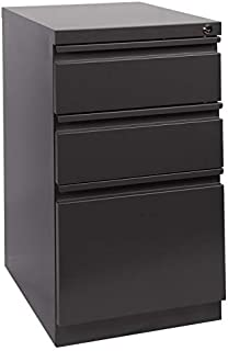 Pemberly Row 3 Drawer Mobile Pedestal Letter File Cabinet with Key Lock in Black