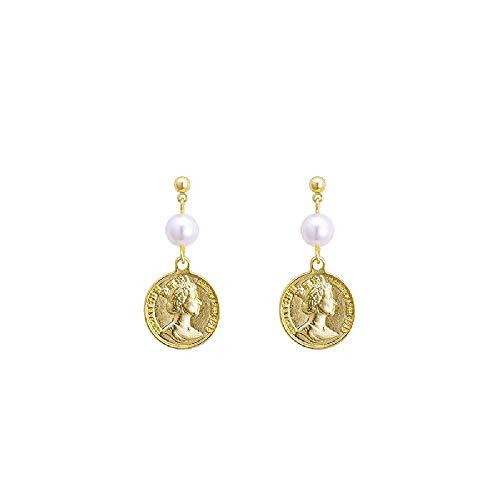 S925 oorbellen, Europese en Amerikaanse stijl retro driedimensionale gepreegde godin gouden munten oorbellen vrouwelijke 4 * 2cm