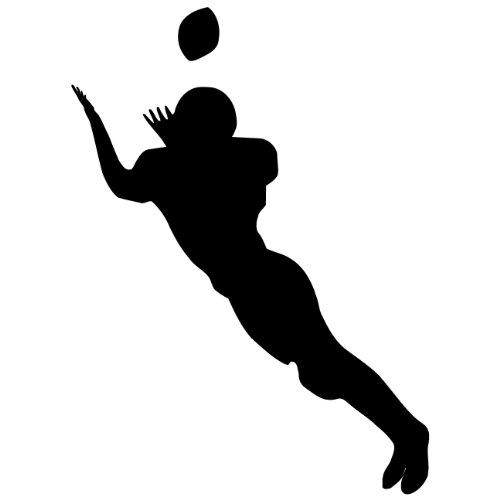 Football Wall Sticker Decal 4 - Decal Stickers and Mural for Kids Boys Girls Room and Bedroom. Sport Wall Art for Home Decor and Decoration - Football Player Silhouette Mural