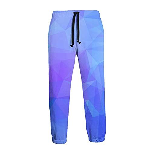 136 Pantalones de chándal de los hombres, Azul Polígonos Joggers Pantalones Deportivos Calientes Pantalones Deportivos para Hombres para Correr