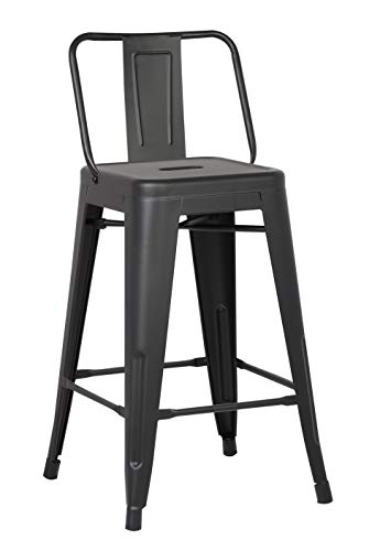 HomeRoots Metal Barstool with Back Matte Black 24 inch Set of 2