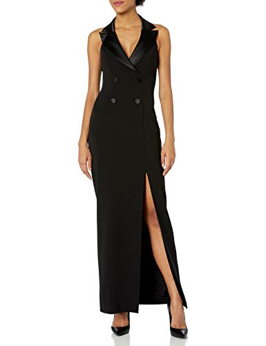 Adrianna Papell Women's Sleeveless Halter Tuxedo Dress with Button Detail, Black, 14