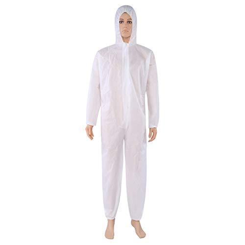 Cleaing 2 Stück XL Einwegoverall Schutzanzug Maleranzug Schutzkleidung Einweg Anzug mit elastischen Handgelenken, Knöcheln und Kapuze