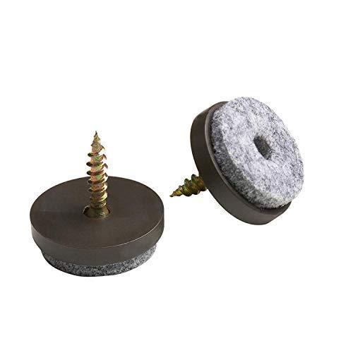 Wohlstand 50 Fieltro (24 mm de diámetro) en gris con tornillos,Clavo de pies,DIY Protectores del clavo antideslizante Almohadilla de fieltro de piso Pata de silla Marron