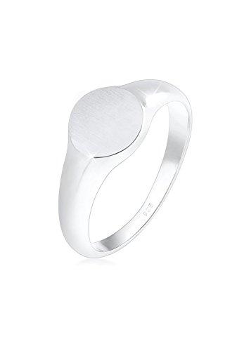 Elli Ring Damen Siegelring Royal Matt Geo Basic Trend in 925 Sterling Silber