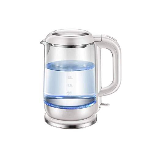 Hervidor eléctrico de vidrio para el hogar, hervidor de acero inoxidable 304, tetera de agua hirviendo de mini dormitorio, anti-secado, anti-secado, fácil de limpiar 1.7L (color: plata)