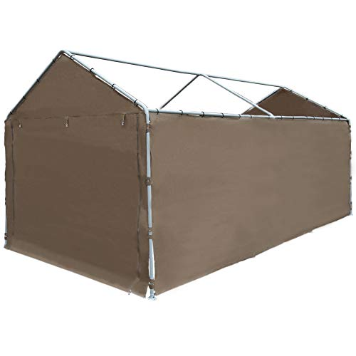 Abba Patio Replacement SideWall Cover for 10 x 20 ft Carport Shelter Garage UV Water Resistant SideWall Tarp with Rings (Frame & Top Cover Not Included), for 6 Legs Carport, Dark Brown
