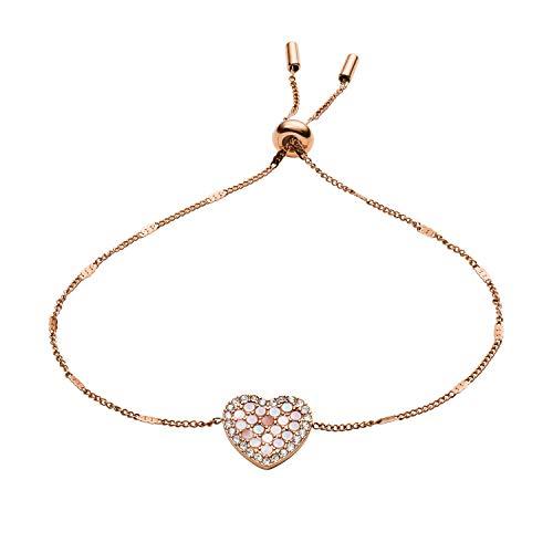 Fossil Women's Mosaic Heart Rose Gold-Tone Stainless Steel Bracelet