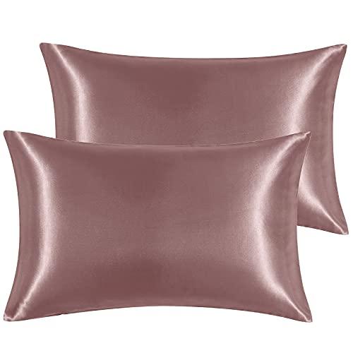 Hansleep Funda Almohada 50x80cm de Satén Beige, Sedoso estándar para 2 Piezas, con Cierre de sobre, Muy Liso Suave de 100% Microfibra Poliéster, Belleza Facial, Cuidado de la Cara, hipoalergénico