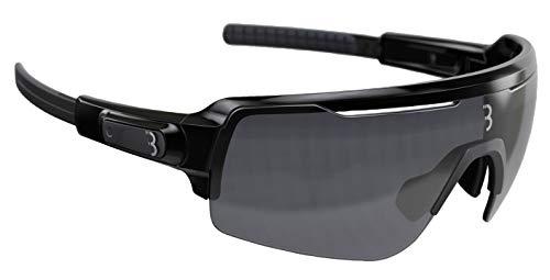 BBB Cycling Fahrradbrille Commander | Herren und Damen Sportbrille Sonnenbrille Radsport | mit DREI Wechselgläsern | Polycarbonat | MTB Rennrad Urban | Glänzend Schwarz | BSG-61