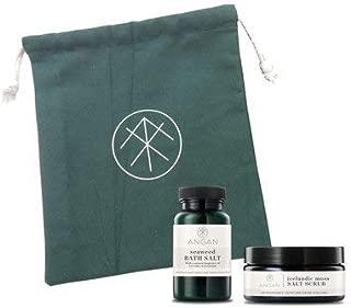 ANGAN 2 Pack Bath Set Including Seaweed Bath Salt & Icelandic Moss Salt ScrubHandcrafted Spa Kit