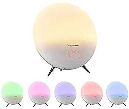 Sunstech FRLAMP1 - Radio Despertador con iluminación (Gradual, termómetro, función Sleep, Entrada Auxiliar, Sonidos de Naturaleza), Color Multicolor