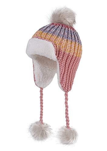 LLmoway Toddler Girl Sherpa Earflaps Hat Infants Winter Cap Knit Pom Beanie Warm Peruvian Hats Pink
