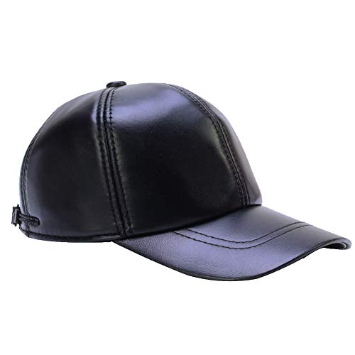 DID Men's Genuine Soft Lambskin Leather Baseball Hats Driving Adjustable Caps Black