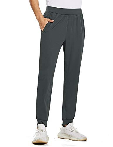 BALEAF Men's Athletic Joggers Quick Dry Running Lightweight Pants Training Workout UPF 50+ Zipper Pockets Gray L