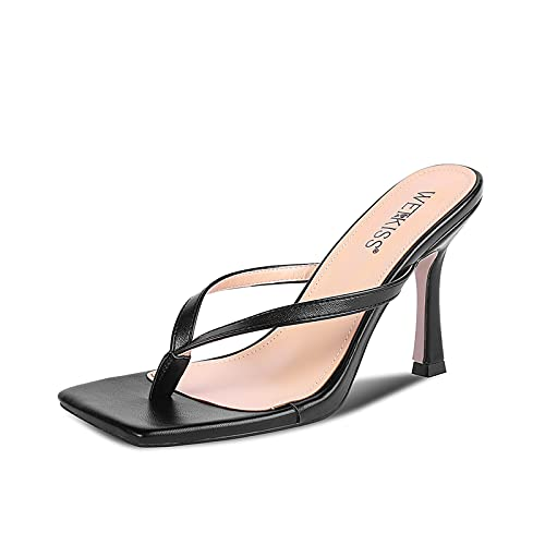 WETKISS Women's Flip Flops Slides Kitten Heel Slip On Thong Square Toe Heels Sandals Stiletto Party Slippers Heeled Sandal Shoes
