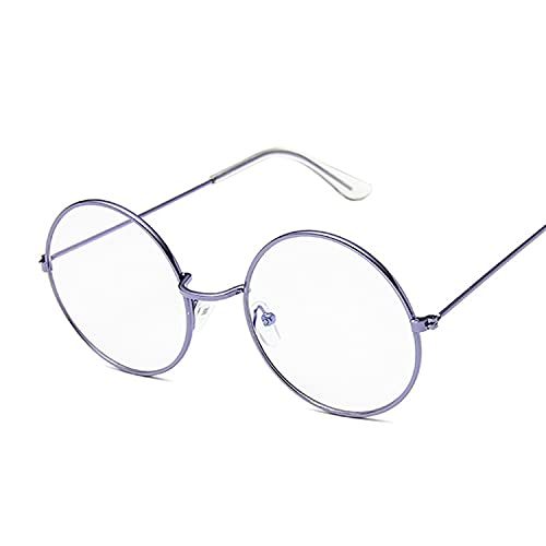 XKMY Gafas de marco vintage redondas con montura de metal, lentes transparentes, lentes ópticas para hombres y mujeres, marco de gafas falsas (color del marco: morado Trans)