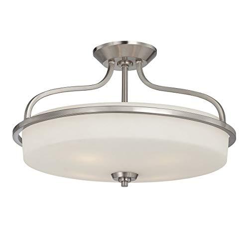 Savoy House 6-6225-4-SN Charlton 4-Light Semi-Flush with White Etched Glass Shade, Satin Nickel Finish