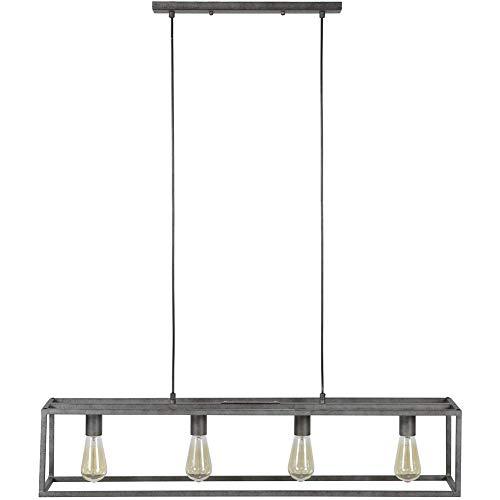 PLJQ Hanglamp Cuba 4-pits oud zilver grijs vintage look rechthoekig dimbaar voor woonkamer keuken slaapkamer kroonluchter hanglamp metaal