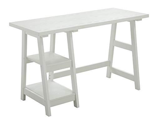 Convenience Concepts Designs2Go Trestle Desk with Shelves, White (Kitchen)
