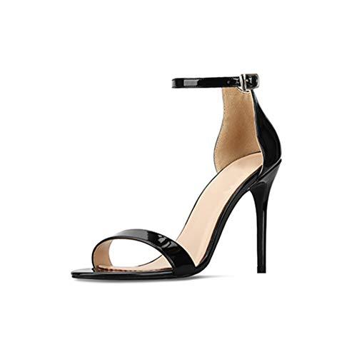 Sandalias de mujer,Sandalias de tacón alto con punta abierta de charol de...