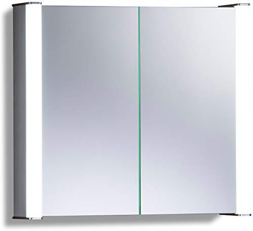 LED beleuchteter Badezimmer Spiegelschrank (Tageslichtweiß bei 6500K) TÜV geprüft mit Antibeschlag-Pad ohne sichtbare Kabel, Steckdose, Sensor-Schalter und LED-Lichter 60cm x 65cm x16cm (HxBxT) C12