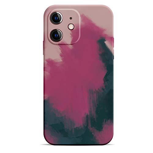 2021 caja del teléfono móvil del silicón líquido, caja del teléfono móvil 12 Pro, diseño de la serie del arte de la acuarela, teléfono móvil flexible de la protección (color de la berry 12MINI)