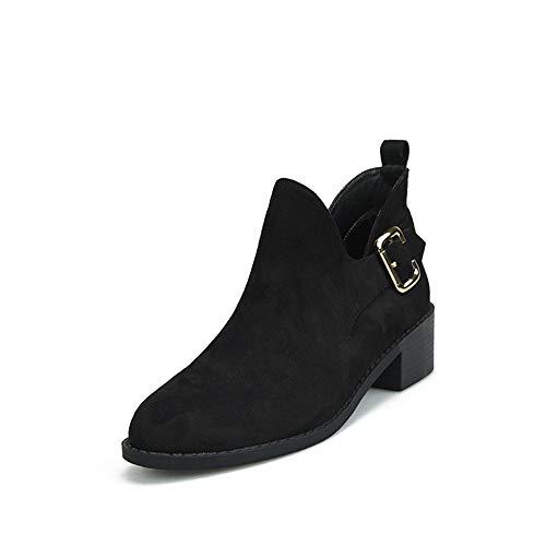 SMSZTYM Femmes Bottines Automne Hiver Chaussures Bout Rond Boucle Sangle Bottes en Peluche Courtes Femmes Noir Bottes Bottines Chaussures Chaudes Talon Carré