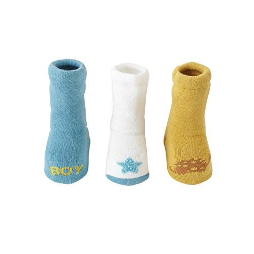 DEBAIJIA 3 Pares Calcetines Gruesos para Bebés Calcetines lindos de Algodón Antideslizante para Niños y Niñas de 0-12 meses Vistoso Cálidos y Cómodos Calcetines de Invierno - S