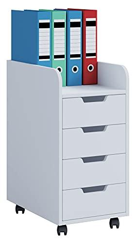 PKline Rollcontainer Bürocontainer 4 Schubladen Büro Schrank Schreibtisch Unterschrank