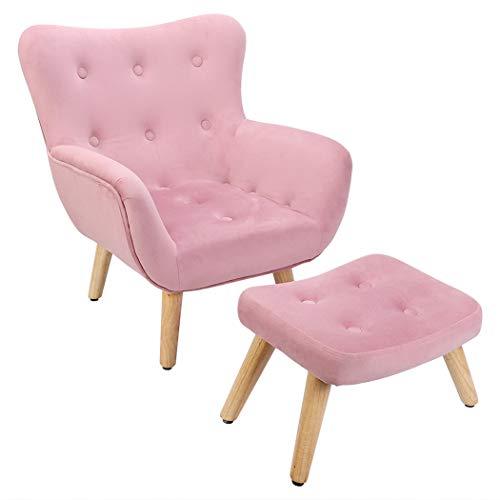 UKMASTER Kindersessel mit HockerOhrensessel Kindersofa Relaxsessel in weichem Samt bezogen, Rosa Retro Stuhl mit Rücklehne für Wohnzimmer Schlafzimmer