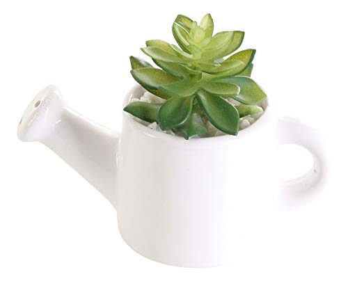 levandeo Macetero de 14 x 10 cm, color verde y blanco