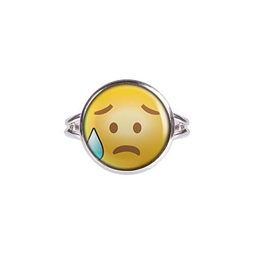 Mylery Anillo con Motivo emoticonos Emoji Sonriente de la Cara no. 39 Plata 14mm