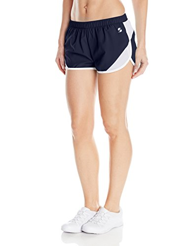 Soffe Women's Woven Mesh Insert Short, Navy, Medium