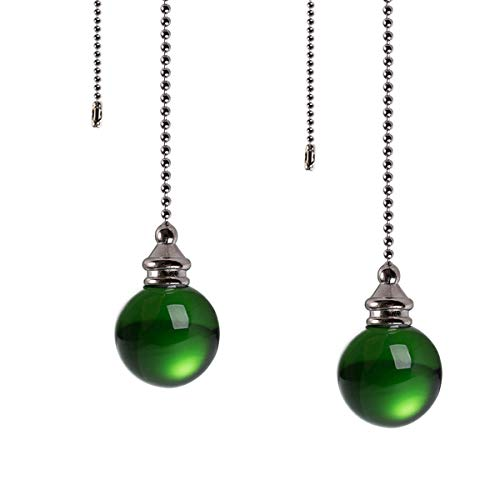 Ceiling Fan Pull Chain Set - 2 pieces Green Crystal Ball 30mm Diameter Fan Pull Chains 20 Inch Ceiling Fan Chain Extender with Chain Connector Home Wedding Decor Ornament Pendant