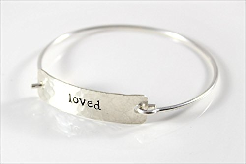 Custom Word Inspiration Bracelet   Sterling Silver Word Bracelet, One Word Silver Cuff Bracelet, Small Gifts for Her