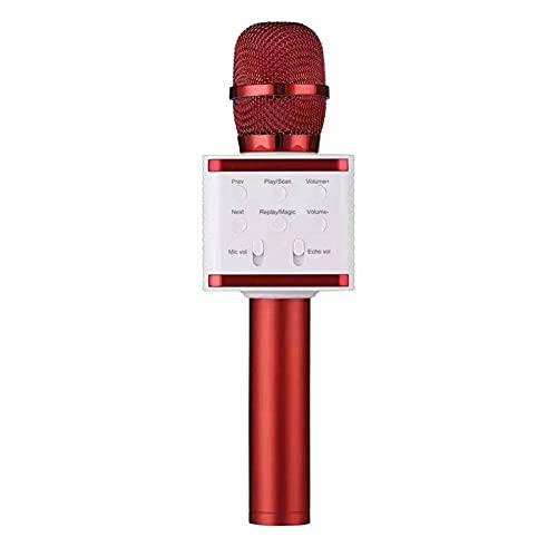 KU Syang MicróFono InaláMbrico de Karaoke con Bluetooth, MicróFono, Altavoz, MúSica, Canto, GrabacióN de Voz, Karaoke para Todos los TeléFonos Inteligentes, Rojo