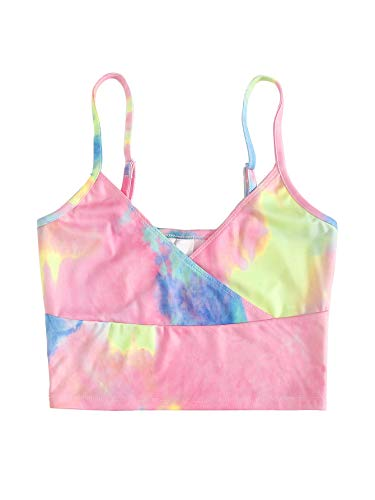 SweatyRocks Women's Casual Tie Dye Print Wrap Surplice Front Crop Cami Top Multicolor S