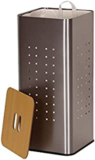 Household Essentials 7080-1 Square Metal Laundry Hamper -Removable Liner Bag and Wood Lid - Stainless Steel
