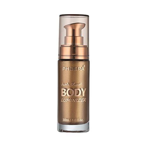 O'Loré Body Luminizer Makeup Cream, PHOERA Face Body Shimmer Makeup Liquid Brightening Makeup Cover Concealer Foundation