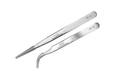 [SET 2 Stück] Fine Precision Beauty Pinzetten Vetus ST-12 (135mm) and ST-15 (120 mm) professionelles Werkzeug für Wimpernverlängerung, Edelstahl gebogene/gerade