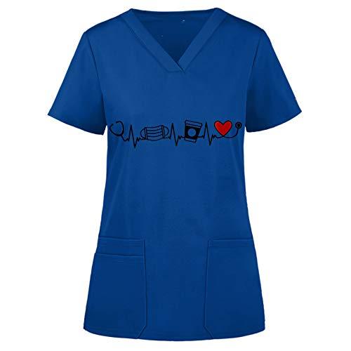 QiFei Damen Kurzarm Shirt Atmungsaktiv Oberteile Casual T-Shirt Herz-Druck Holiday Damen V-Ausschnitt Schlupfhemd Kasack Tops Arbeitsuniform Schutzkleidung Bluse Uniform